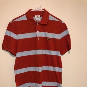 Lacoste Polo Shirt Men size 3 Orange/Blue Striped